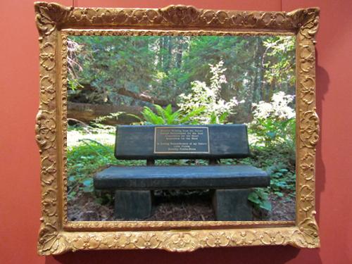 Hendy Woods State Park memorial bench inside an ornate frame.