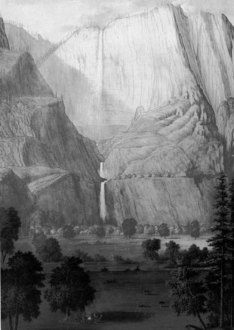 Yosemite Falls by Thomas Ayres, June 1855. The first rendering of Yosemite Valley to be published and popularized.
