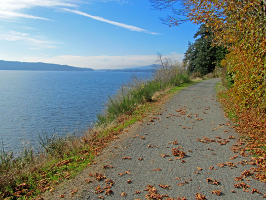 Galloping Goose Regional Trail is a rail-to-trail conversion on Vancouver Island, British Columbia. The trail connects the city of Victoria with the wilderness.